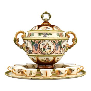 Antique Pottery, Villeroy and Boch, Mettlach Punch Service at rauantiques.com