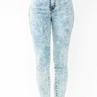 KRUSH GIRLZ — High waist acid wash lake jeans