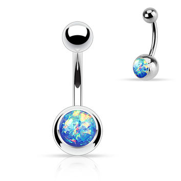 Opal Sparkly Belly Ring Dark Blue Glitter 14ga Surgical Steel Body Jewelry Navel Ring