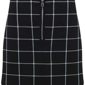 Check Zip Front Mini Skirt - View All