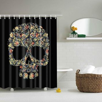 Skull Black Shower Curtain With Hooks