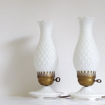 vintage milk glass lamp // quilted milk glass lamp // vintage hurricane style lamp // vintage accent lamp // vintage bedside lamp 1950s
