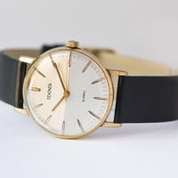 Unique wristwatch gold plated unisex Sekonda. Minimalist watch vintage jewelry for men. Tiny texture face watch. Premium leather strap new