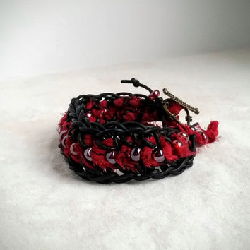 Bohemian Bracelet, Red and Black Bracelet, Leather Bracelet, Valentines Gift for Her, Silk Bracelet, Ethnic Bracelet, Sari Silk Bracelet