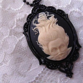 Halloween SHIP Nautical BLACK Mermaid Goth Steampunk Rockabilly Necklace Pendant Cameo