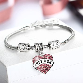 Charm Heart Crystal STEP MOM Bracelet - 2 Colors Available