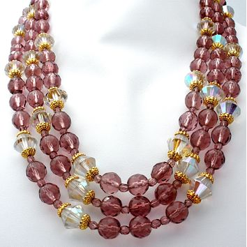 Purple Glass Bead Multi Strand Bead Necklace