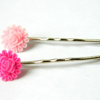 Bobby Pins Flower Fuchsia Light Pink by PushTheButtons on Etsy