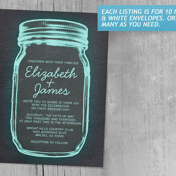 Aqua Vintage Mason Jar Wedding Invitations | Invites | Invitation Cards