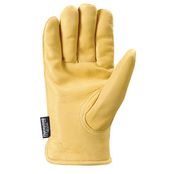 Insulated Lined Leather Grain Deerskin Work Gloves for Men-L
