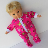 Bitty Baby Clothes Pajamas Pjs Sleeper Cotton Knit Zip Up Feetie Bright Pink Butterfly Floral