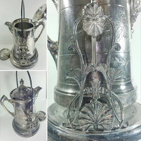 Rare Antique Victorian Tilting Tea Pot With Stand 1800s Silver Plate