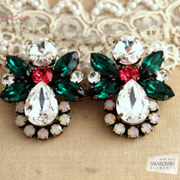 Emerald Crystal peach Statement Earrings, Christmas chandelier earrings, Emerald Opal crystal Swarovski Earrings, Crystal Statement earring.
