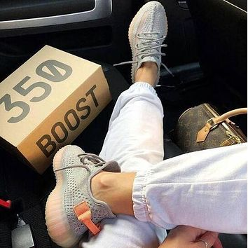 Adidas Yeezy Boost 350 V2 Fashionable Men Women Breathable Running Sport Shoes Sneakers Grey&Orange