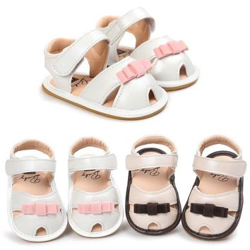 Newborn Baby Girls Bow Summer Sandals Soft Sole Crib Shoes Prewalker 0-18 Months