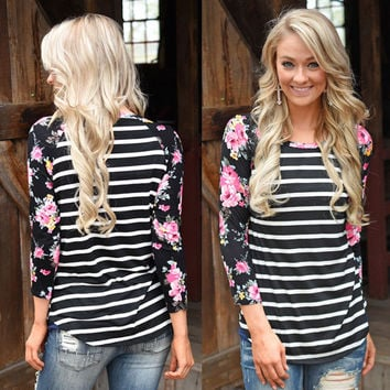 Floral Print Sleeve Stripe Patchwork Irregular Long Sleeve T-shirt