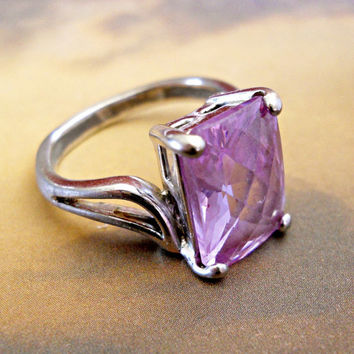 Rose de France Amethyst Ring Sterling Vintage Checkerboard Cut sz 8 - 8.5