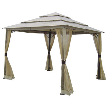 10-ft x 10-ft Outdoor Steel Frame Gazebo with Mosquito Netting Screen and Canopy