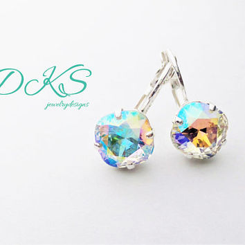 Crystal AB, Swarovski 10mm Square Earrings, Bridal, Drops, Dangles, Cushion Cut, Rainbow, DKSJewelrydesigns, FREE SHIPPING
