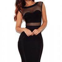 Black Fishnet Inlay Party Cocktail Bandage Dress