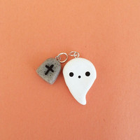 Polymer clay ghost charm, cute ghost, Halloween charm, polymer clay Halloween, ghost, polymer clay charms, tomb stone