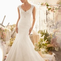 Mori Lee 2604 Sheer Lace Back Wedding Dress