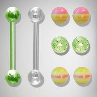 14 Gauge Pink and Green Stripe Barbell 2 Pk with Extra Balls