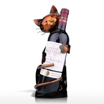 Cat Wine Rack Wine Holder Shelf Metal Sculpture Practical Sculpture Wine stand Home Decoration Interior Crafts