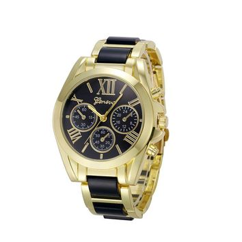 Women Geneva Roman Numeral Gold Plated Metal/Nylon Link Watch