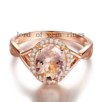 Pave Diamond Halo Ring Corss Shank14K Rose Gold 6x8mm Oval Aquamarine/Amethyst/Citrine/Morganite/Topaz/Emerald Engagement Ring Wedding Ring