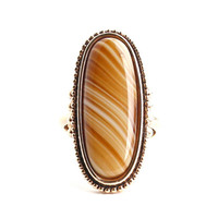 Vintage Brown Glass Stone Ring - Large Signed Avon - Statement Gold Tone Jewelry / Faux Tigers Eye