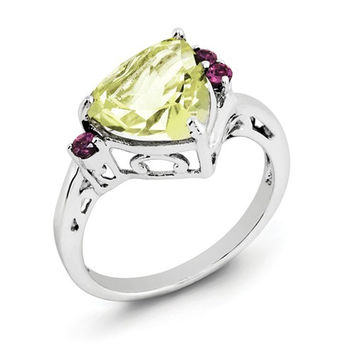 Sterling Silver Lemon Quartz Trillion And Rhodolite Garnet Ring