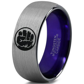 Hulk Inspired Purple Silver Dome Cut Tungsten Ring