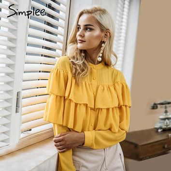 Simplee Elegant ruffles white blouse shirt women tops 2017 Long sleeve cool blouse Casual blusas chemise femme blusas new