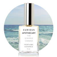 The Striped Cabana by Curious Apothecary. Island white floral, adrift summer clouds