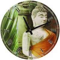 Oriental Furniture Unique Oriental Accessory, 15-Inch Round Orange Draped Buddha Wall Clock