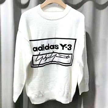 ADIDAS 2019 new jacquard letters cotton round neck long-sleeved sweater white