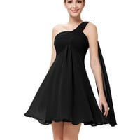 Cocktail Dresses Ever Pretty HE03537 One Shoulder Ruffles Padded Chiffon Short Summer Style Vestido 2016 Cocktail Dresses