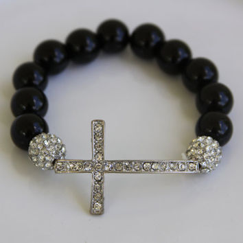 Sideways Cross Bracelet, Large rhinestone cross, religious, spiritual