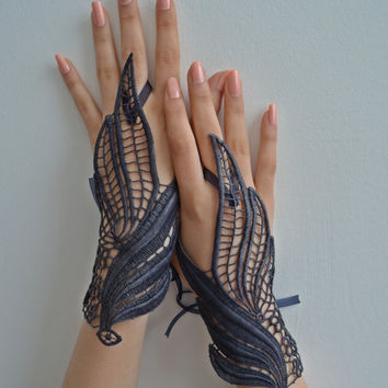 Navy Blue lace gloves burlesque steampunk noir gypsy lolita cocktail tea party bridesmaid gift wedding prom bridal