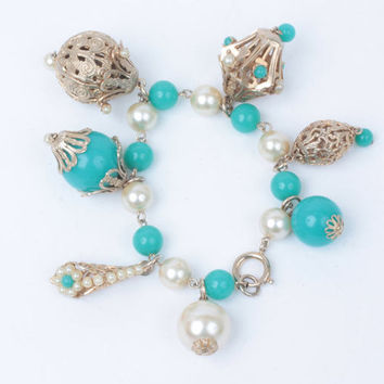 Asian Lanterns Etruscan Fob Style  Bracelet Faux Pearls Faux Turquoise Chunky Filigree Germany