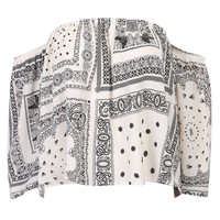 White Off Shoulder Tribe Pattern 3/4 Sleeve Blouse