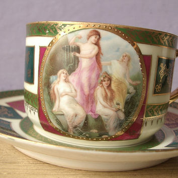 antique tea cup and saucer set, Made in Czechoslovakia porcelain tea set, maidens, green red blue gold, lesbian,