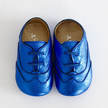 DOLLY by Le Petit Tom ® BABY OXFORDS blue metallic