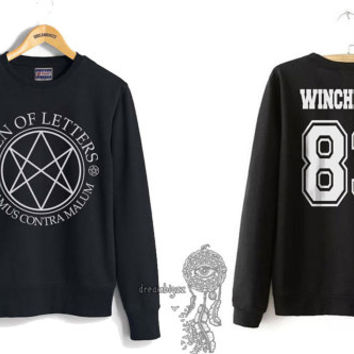 Winchester 83 Sam Winchester Men Of Letters Stamus Contra Malum Supernatural printed on Black Crewneck Sweatshirt