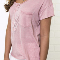 Hello Henley Coral Basic Pocket Tee
