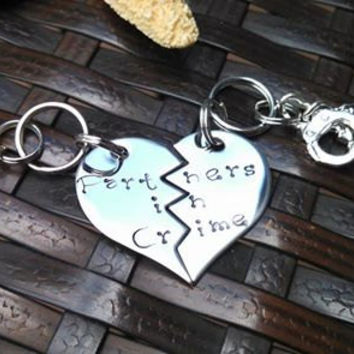 Hand stamped Keychain...Partners in Crime