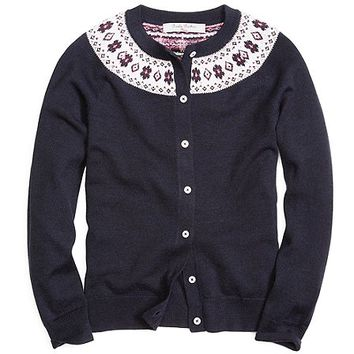 Long-Sleeve Fair Isle Ringer Cardigan - Brooks Brothers