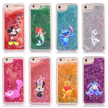 Cute cartoon glitter phone case for iphone 7 7plus 5 5s 6 6s plus 8 8plus mickey Minnie Stitch Mermaid Liquid Quicksand Cover