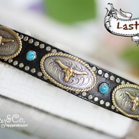 Southwest Leather Concho Dog Collar